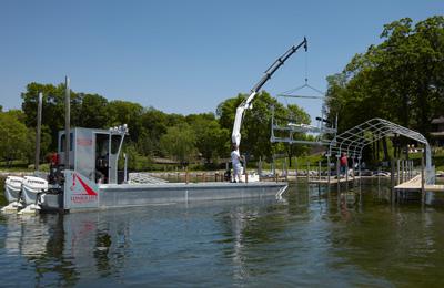 2008 barge installing new boathouse
