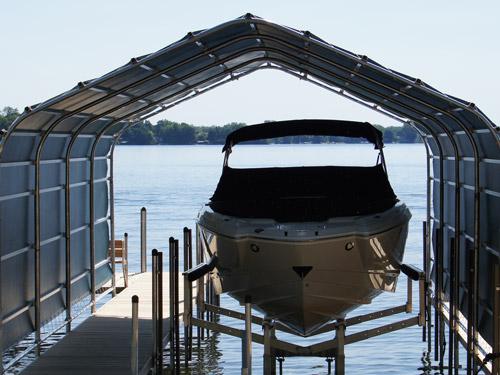 sturdy boat lift on Lake Minnetonka
