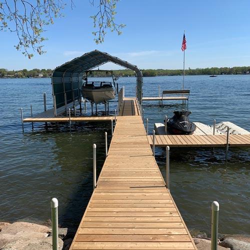 cedar dock with flag pole