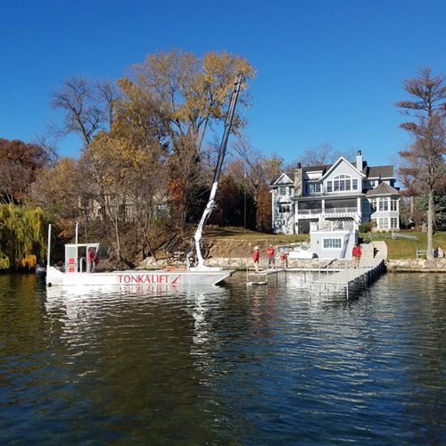 Crepeau Docks barge during fall removal