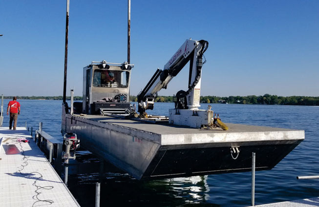 2008 barge docked on Lake Minnetonka