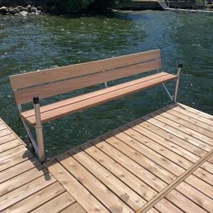 cedar bench dock accessary alternative view