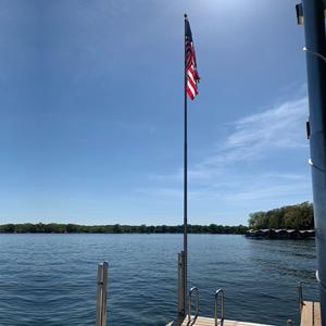 flag pole on cedar dock