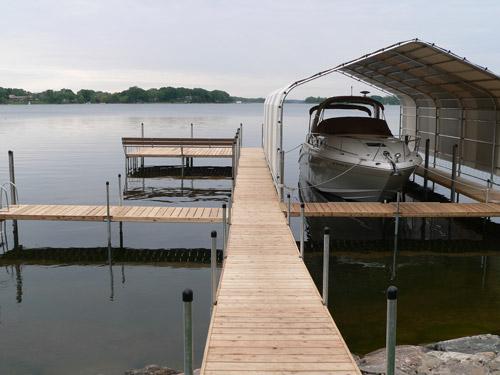 cedar dock on Lake Minnetonka on gray morning