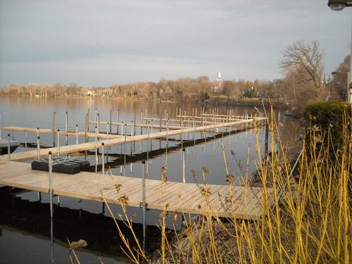 cedar dock along Lake Minnetonka shoreline