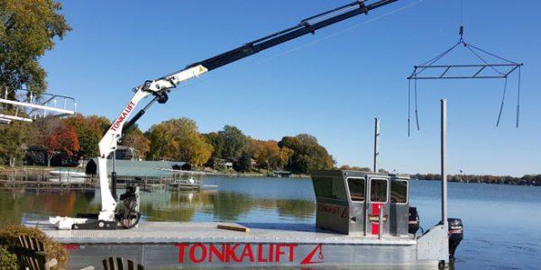 Crepeau Docks barge during transport