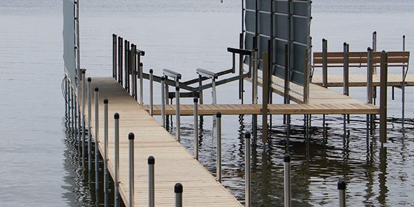 boat lift on gray morning on Lake Minnetonka